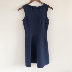 ZARA Bow Back Fit & Flare Mini Dress Navy Blue XS